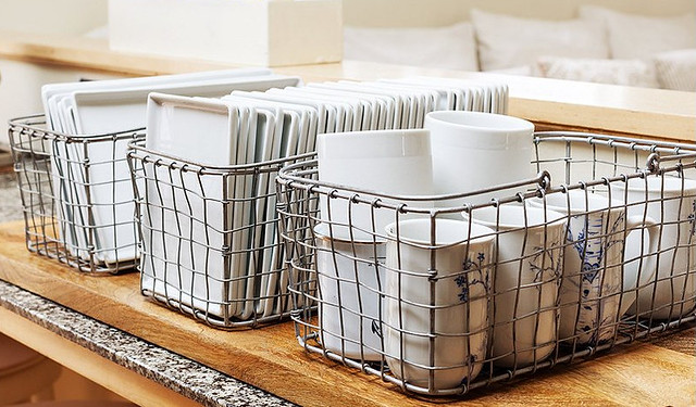 Plates in Wire Baskets