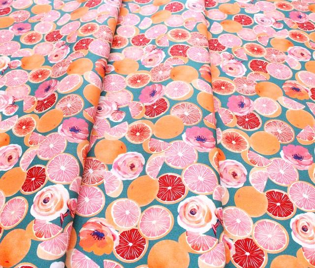 Michael Miller Fabrics Breakfast in Bed DDC9597-TEAL Grapefruit Parfait Teal