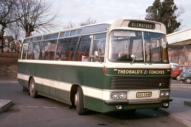 Theobald's Coaches . Long Melford , Suffolk . XGV544K . Sudbury Bus Station , Suffolk . November-1973 .