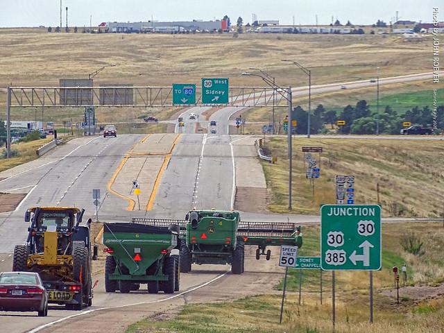 Tractors along US-385 near Sidney, 18 July 2020