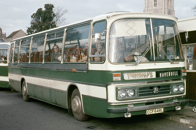 Theobald's Coaches . Long Melford , Suffolk . CCF648L . Sudbury Bus Station , Suffolk . November-1973 .