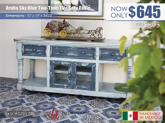 Aruba Sky Blue Two Tone TV Sofa Table_IFD7331STN70BL
