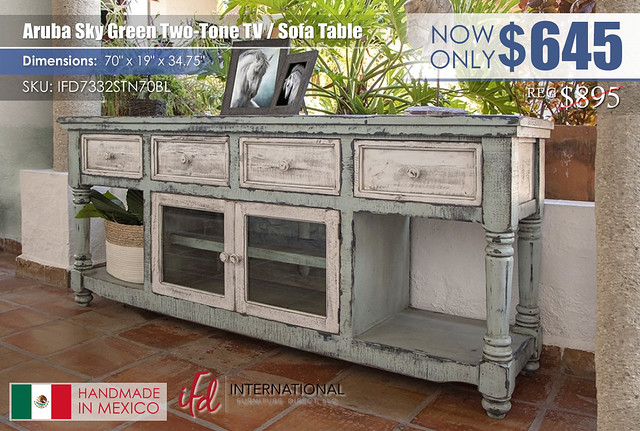 Aruba Sky Green Two Tone TV Sofa Table_IFD7332STN70BL