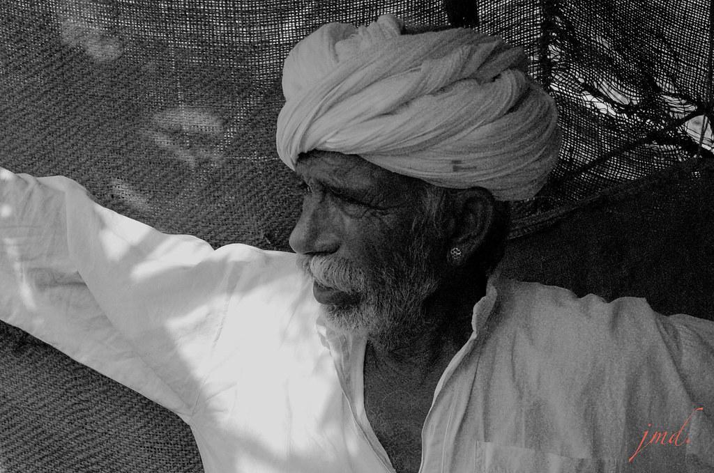 Paysan Bischnoï, région de Birkaner, Rajasthan, Inde  / Bischnoi peasant, Birkaner region, Rajasthan, India