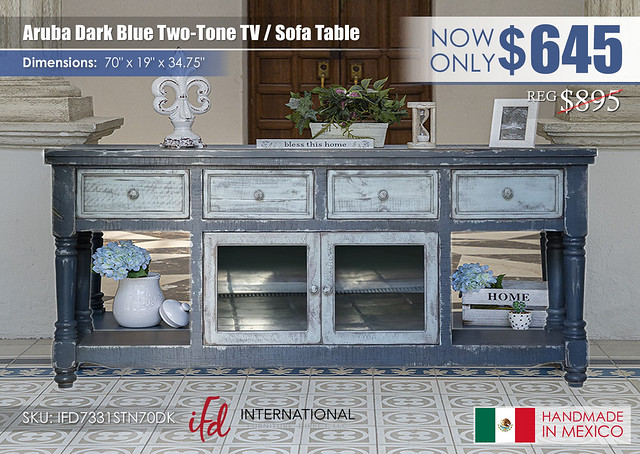 Aruba Dark Blue Two Tone TV Sofa Table_IFD7331STN70DK