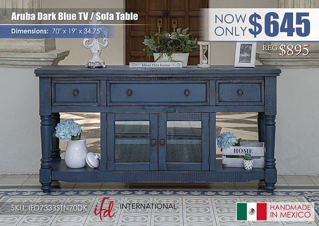 Aruba Dark Blue TV Sofa Table_IFD7333STN70DK