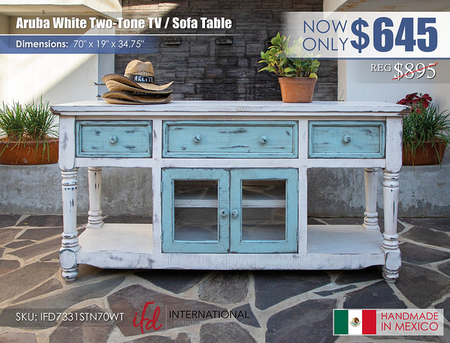 Aruba White Two Tone TV Sofa Table_IFD7331STN70WT