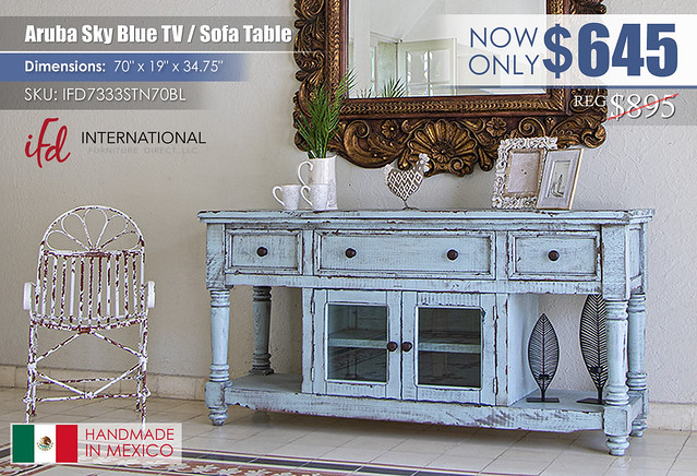 Aruba Sky Blue TV Sofa Table_IFD7333STN70BL