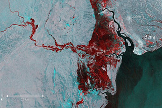 Imagery captured by the European Space Agency's Sentinel-1 satellite on March 19, 2019 shows the extent of flooding (depicted in red) around Beira, Mozambique, after Cyclone Idai made landfall.