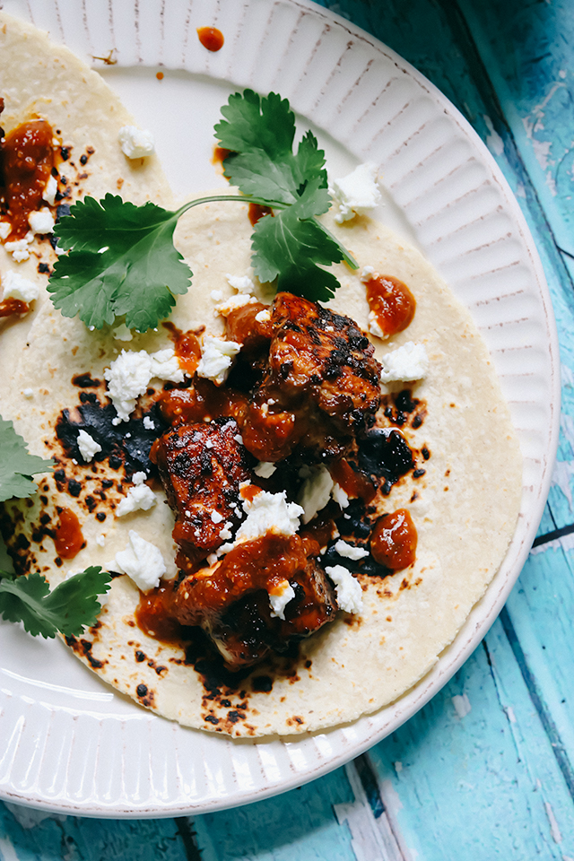 Salmon Tacos al Pastor with Goat Cheese and Smoky Tomatillo-Chipotle Salsa