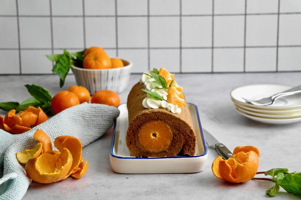 chocolate, mandarin & thai basil roll cake