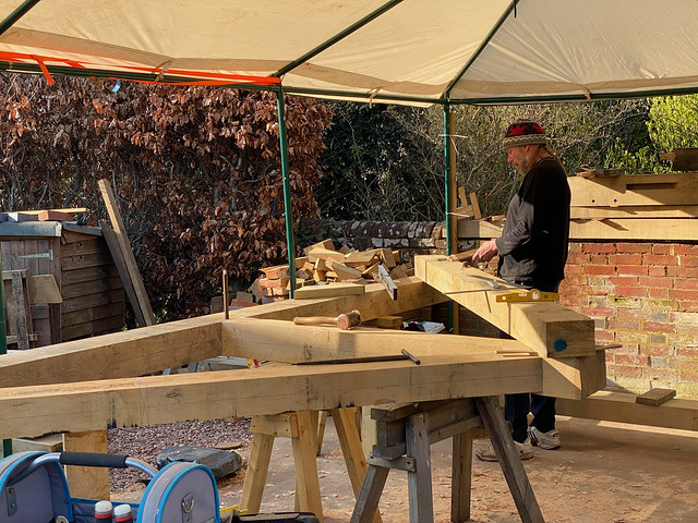 Ben working on the second principal rafter