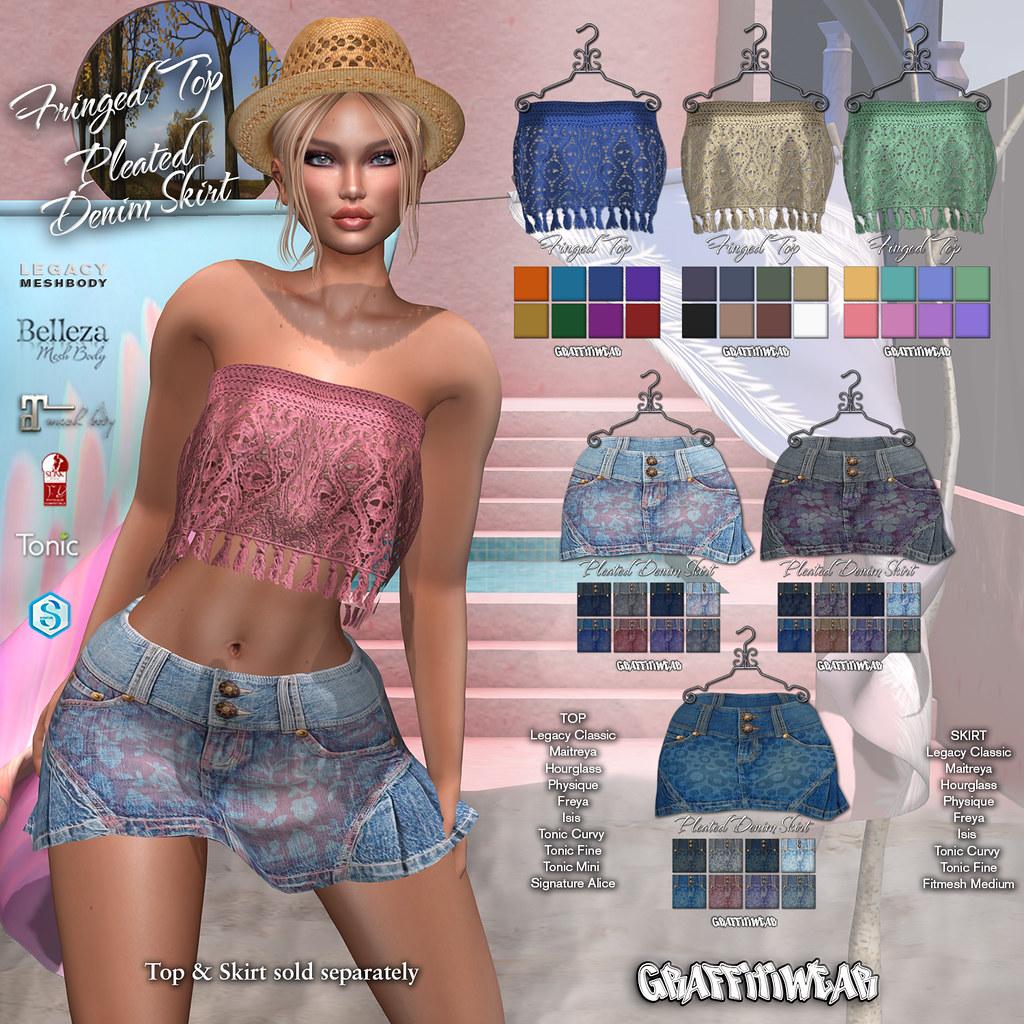Fringe Top & Denim Skirt Ad