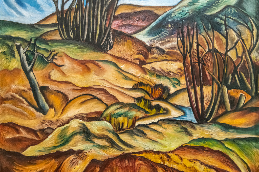 The actual landscape may be raw and undeveloped but the painting has style, color, and guidance