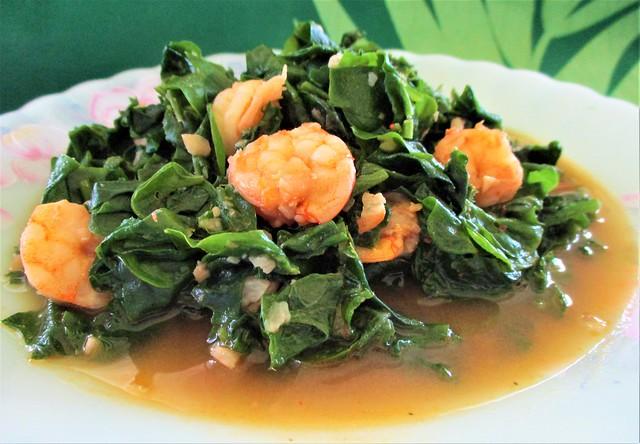 My fried Brazilian spinach with prawns & belacan
