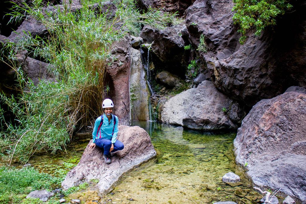 Pozas de agua en el interior del barranco