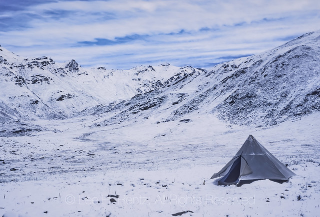 Summer Snow on Tent in the Brooks Range