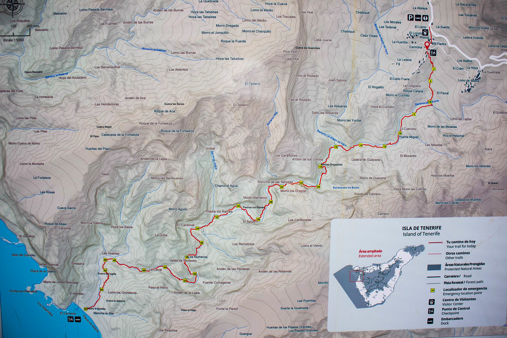 Mapa del sendero del barranco de Masca