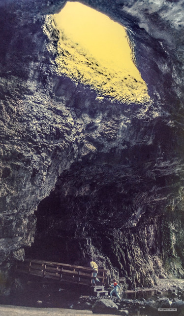 Smoo Cave, Sutherland, Scotland. Two chambers. Outer created by the sea and the largest sea-cave in Britain. The Inner Chamber is created by the dissolution of limestone by the fresh-water of the Allt Smoo, where the river has formed a sink-hole and falls