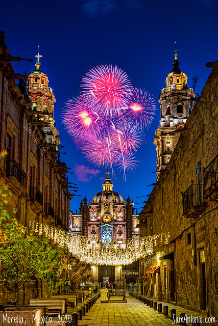 New Year's Eve Fireworks in Morelia, Mexico