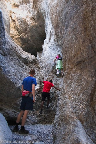 With sharing the weight, we can usually get away with only carrying waist packs instead of full-size day packs.  Grotto Canyon, Death Valley National Park, California