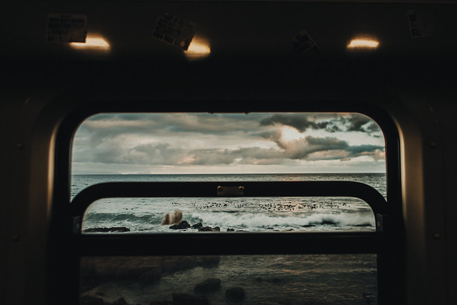 A train by the sea