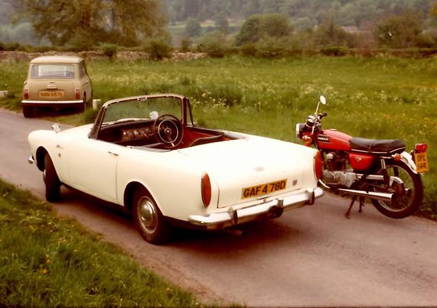 1973 Morris Mini 1000 SGN657L 1966 Sunbeam Alpine GAF478D and Honda CB175 OPG549L circa 1978