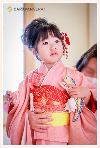 妹の100日祝いにお着物で臨む女の子 3才