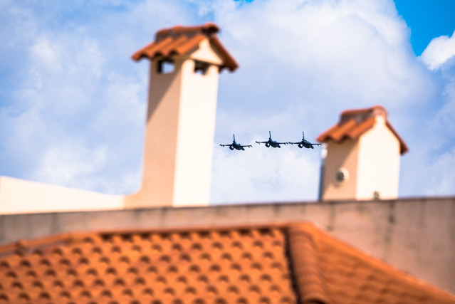 aircrafts over the roofs