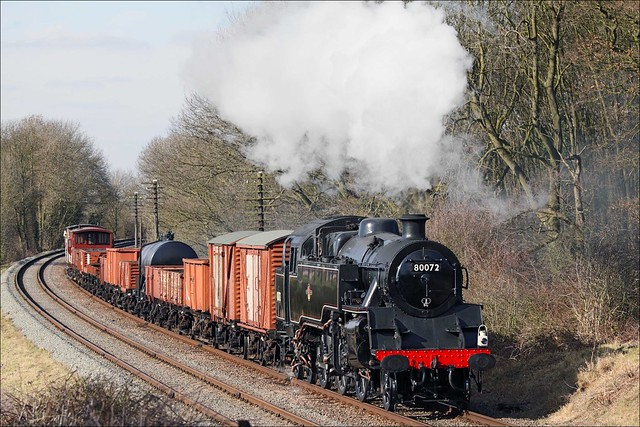 British Railways Standard 4MT 2-6-4T no. 80072 approaches Kinchley Lane with a mixed goods train on 16th March 2010