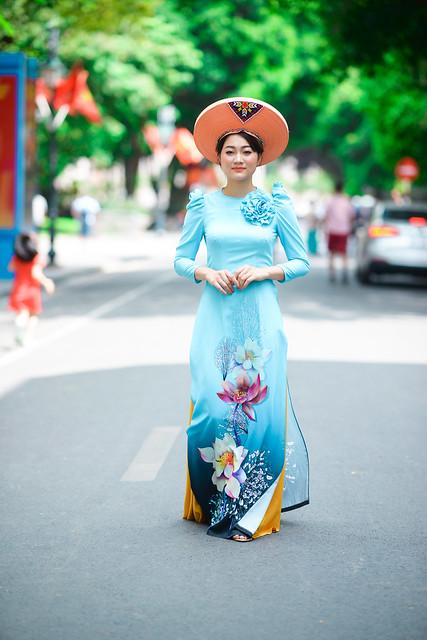 beautiful lady walk on street