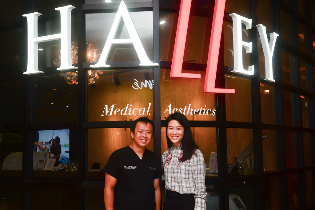 With Dr. Terence Tan in front of Halley Medical Aesthetics