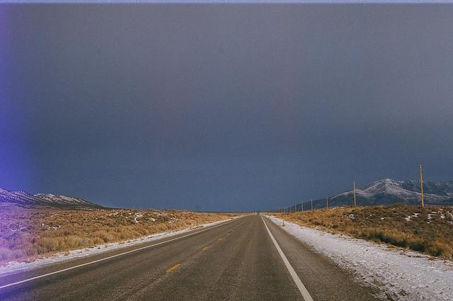 lonely road, grey skies