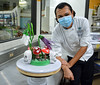 UH Maui College student Jose Antonio Rodriguez Gomez with sugar creation.