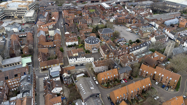 Norwich aerial image: Octagon Chapel & Colegate