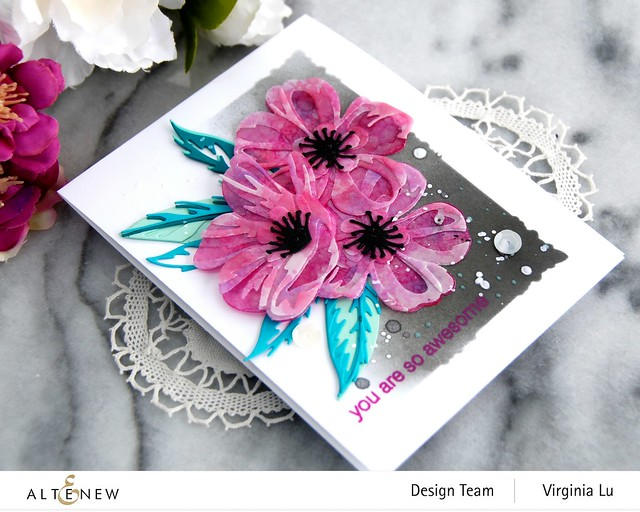 Altenew-CAF Cistus-Simple Frame Stencil-SeaShore Gradient Card Stock-002
