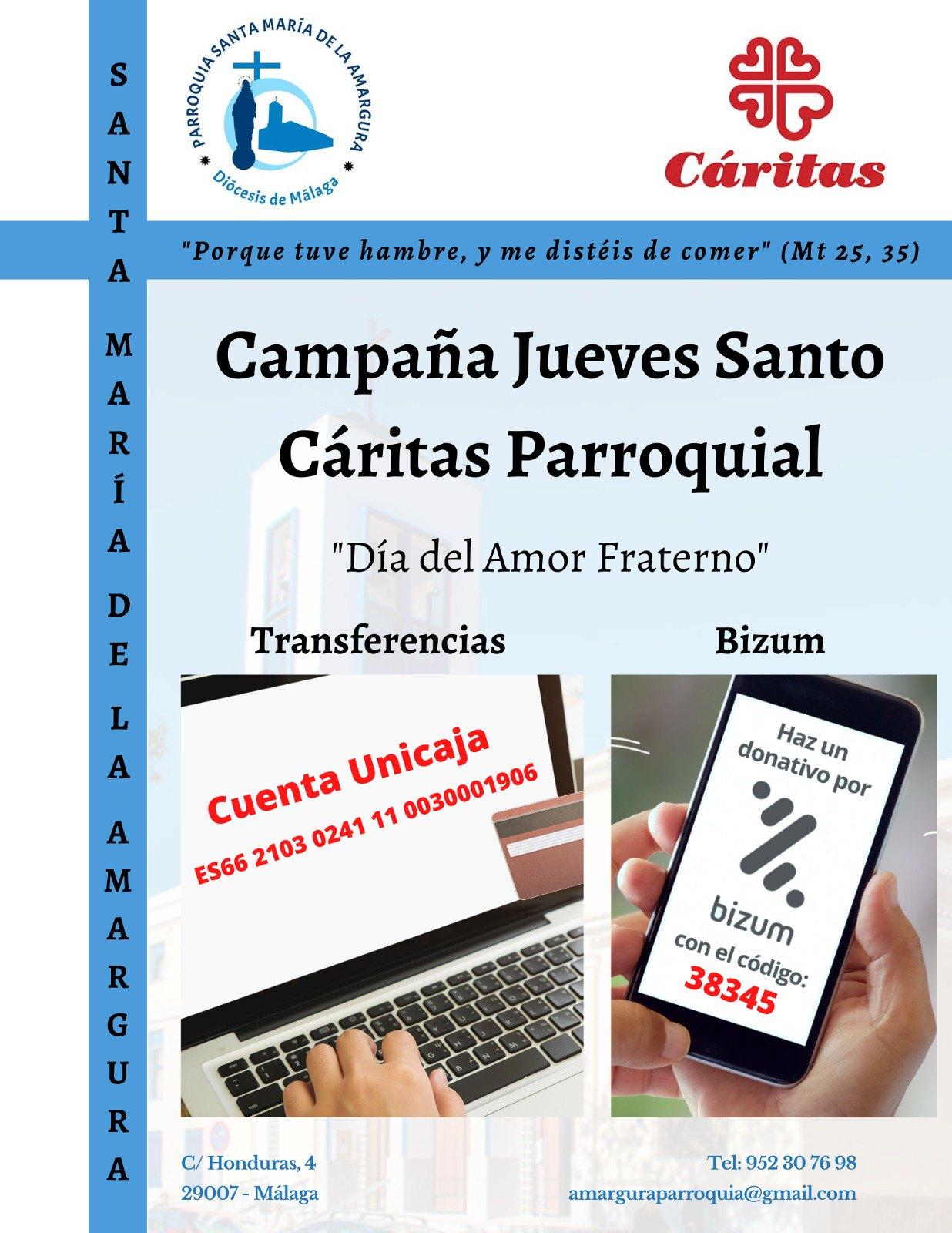 Campaña Jueves Santo Cáritas Parroquial 2021
