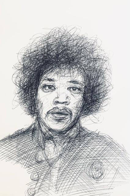 Portrait sketch of American Musician, Jimi Hendrix. Ballpoint pen drawing by jmsw on card.