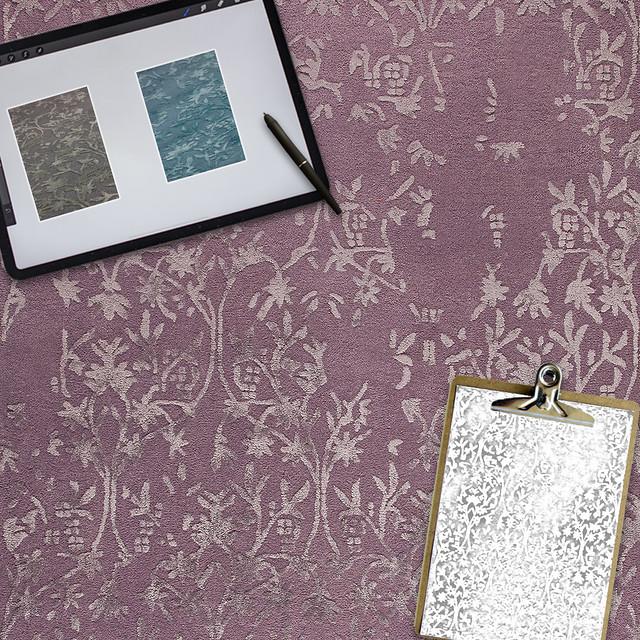 Transitional Floral Hand Tufted Blanc Santoor Purple Area Rug Carpet