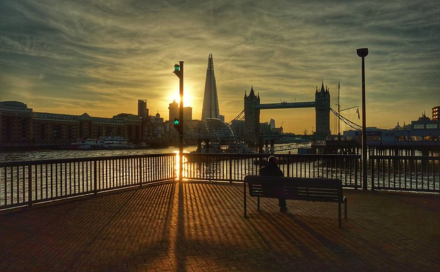 Watching the sun go down in London