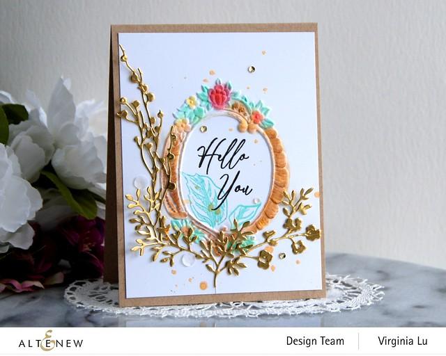 Altenew-Branches & Berries Die-Baroque Frame Embossing Folder-Vintage Garden Stamp Set -001