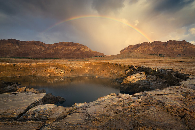 Rainbow above the sinkhole of the Dead Sea