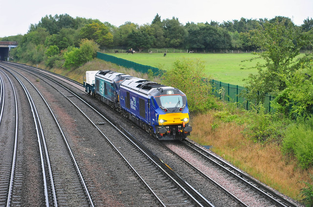 68006 leads 68002 away from Swanley working the 6M95 16.29 Dungeness - Crewe flask train on 2-9-20. Copyright Ian Cuthbertson