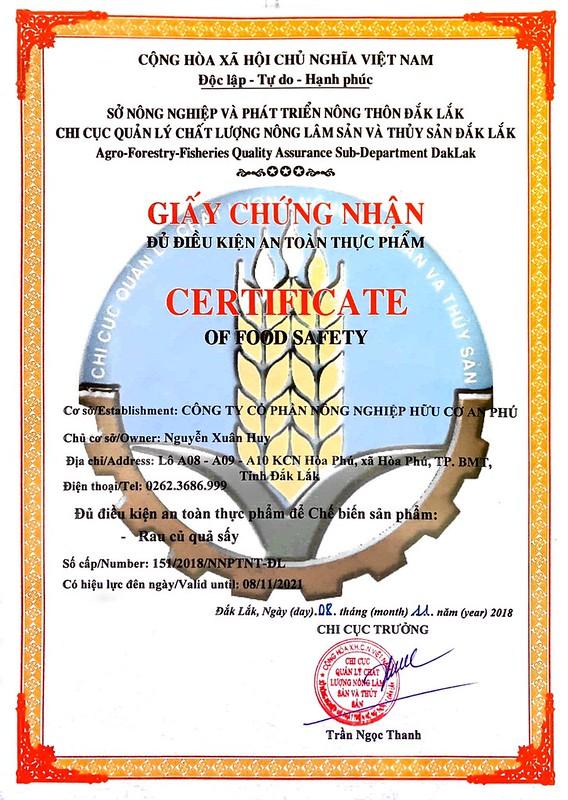 Giấy chứng nhận an toàn thực phẩm An Phu
