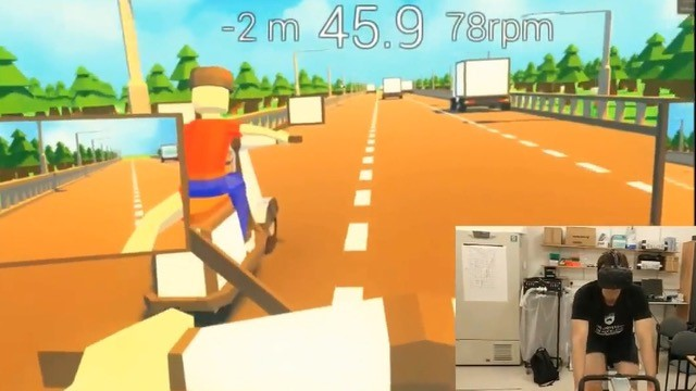 Man inside virtual reality cycling, and inset a man on a bike wearing a VR headset