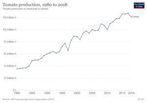 Türkiye'de Yıllara Göre Domates Üretimi