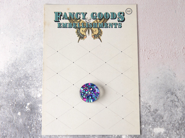 Handmade large resin button with pink and blue glitter – 22mm