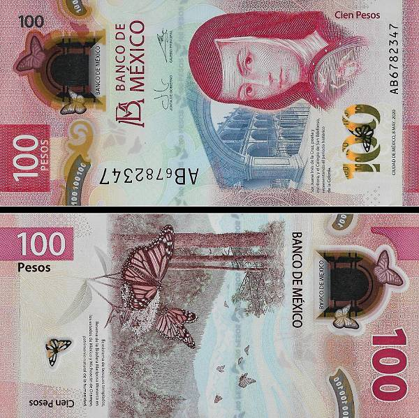 100 Pesos Mexiko 2020 P131c polymer