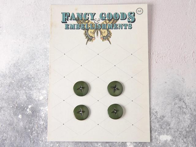 Set of 4 vintage olive green plastic buttons – 16mm