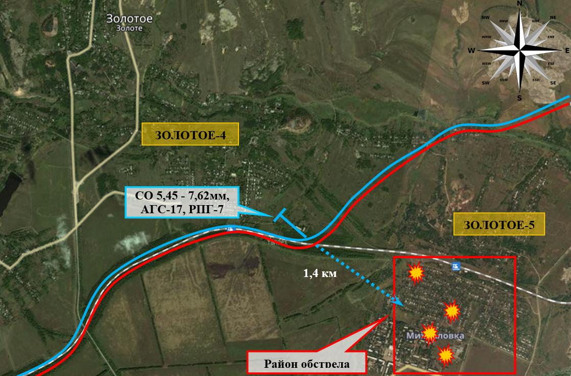 Carte montrant les tirs de l'armée ukrainienne contre Zolotoye-5 en RPL